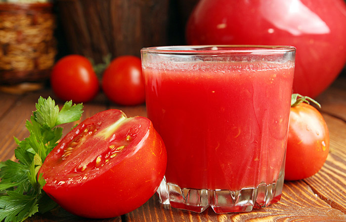 tomato juice after physical activity